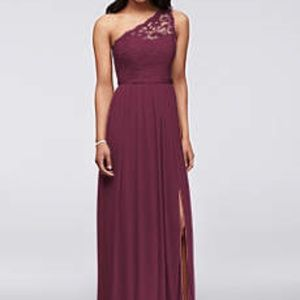 David's Bridal One Shoulder Lace Bridesmaid Dress